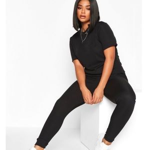 Ribbed Two Piece Lounge Set (Plus size)